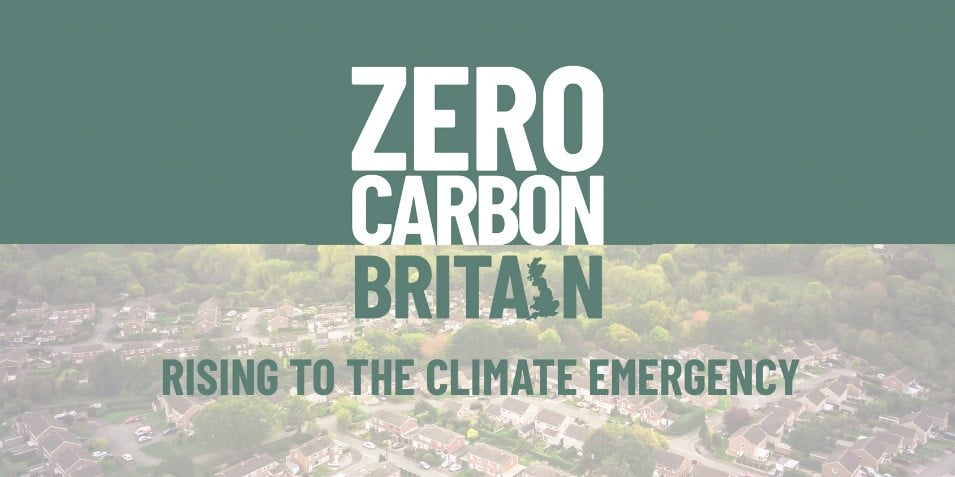 Zero Carbon Britain banner: ZCB logo with the words 'Rising to the climate emergency'
